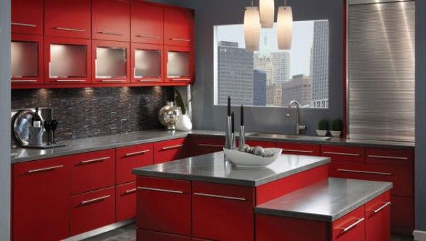 çok şık kırmızı metalik gri amerikan mutfak modeli