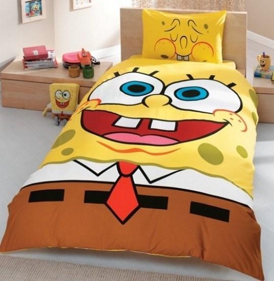Sünger Bob (Sponge Bob) Temakı Tek Kişilik Nevresim Takımı Modelleri Resimleri 2012