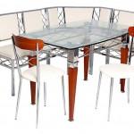 ahşap ayaklı cam mutfak masası modeli
