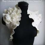 beyaz güllü taşlı fırfırlı bolero