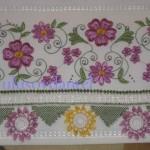 havlu kenarı örnekleri mor saro çiçeklre uygun dantel