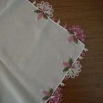 havlu kenarı örnekleri pembe beyaz oya