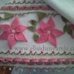 havlu kenarı örnekleri pembe uçlu ve ortalı dantel