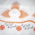 havlu kenarı örnekleri turuncu çiçek oya