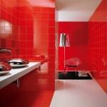 kırmızı fayanslı banyo tasarımı