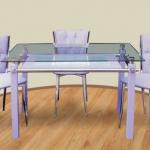 mavi camlı deri sandalyeli masa takımı