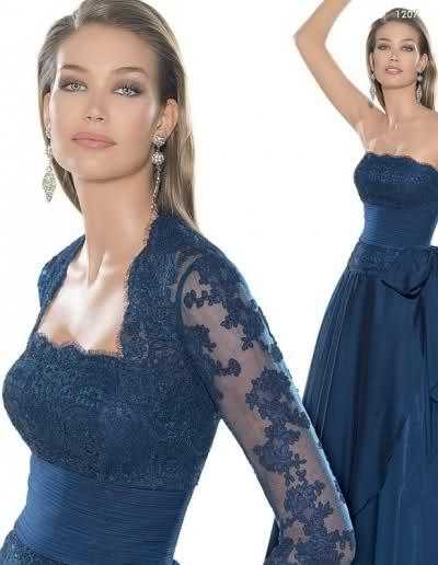 mavi dantel işli çok şık yazlık abiye elbise