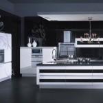 siyah desenli mutfak dolapları