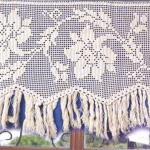 Çiçek desenli dantel perde modeli