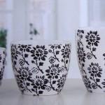 çiçek desenli dekoratif seramik saksı 2012