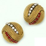 Ruby, Diamond, and Gold Retro Earrings