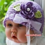 çok şirin mor şapka modeli