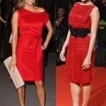ünlüler çok modern kırmızı elbiseler