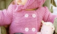 Pembe Renkli Haraşo Modelli Kız Çocuk Hırka Şapka Örneği