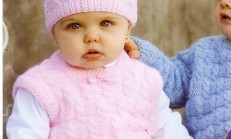 Kız Çocukları İçin Örgü Süveter ve Şapka Takımı