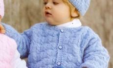 Erkek Bebekler İçin Hırka Şapka ve Patik Takımı Örneği