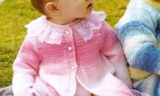Kız Çocuk Dantel Yaka Süslemeli Hırka Modeli