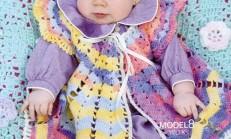 Tığ İşi Renkli Bebek Yeleği ve Şapka Modeli