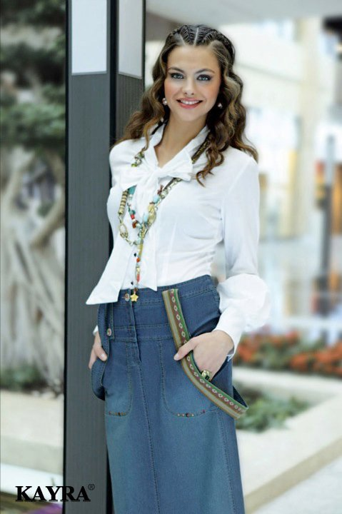 Kayra Giyim 2011 İlkbahar modası  kot etek beyaz gömlek