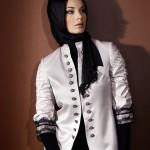 abiye beyaz siyah dantel detaylı ceket modeli