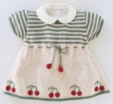 bebe yaka kirazlı kısa kollu kız bebek örgü elbise