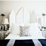 beyaz yatak başı paravan tasarımı