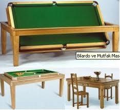 bilardo masası ve yemek masasının modern birleşimi