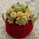 bordo çiçekli örgü çaydanlık kılfları