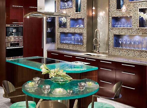 cam tezgah modern amerikan mutfak tasarımı