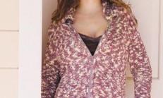 Ceket Yakalı Fermuarlı Bayan Örgü Hırka Modeli