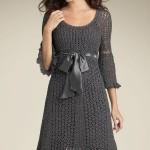 dantel belden kurdela kemerli  bayan kışlık elbise