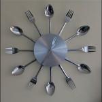 dekoratif çatal kaşıklı mutfak saati