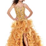 derin yırtmaçlı askılı kabarık abiye elbise