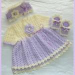 elbise bere ve patik takımı kız bebek örgüleri