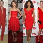 en modern ünlülerin kırmızı elbise modelleri