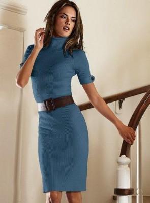 en yeni boğazlı belden kemerli  elbise