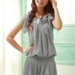 fiyonklu yuvarlak yakalı plise etekli 2012 trend şifon elbise