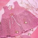 gül kurusu kız bebek örgü elbise modeli