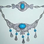 gümüş mavi taşlı kolye