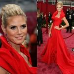 heidi klum kırmızı elbise modeli