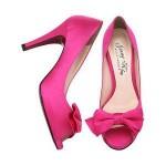 ince yüksek topuklu ön kısmı fiyonklu yazlık pembe ayakkabı
