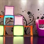 küp şeklinde modern renkli kitaplık tasarımı