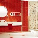 kırmızı değişik banyo seramik tasarımı