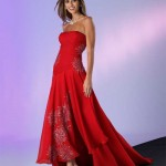 kırmızı gri sim işli trend straplez elbise