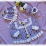 kız bebek örgü hırka bere patik takımı