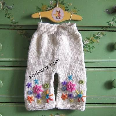 kız bebek örgü pantolon örneği