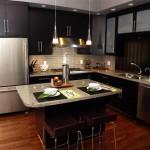kahverengi modern amerikan mutfak tasarımı