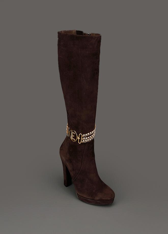 kahverengi süet uzun ve platform topuklu halhallı çizme modeli
