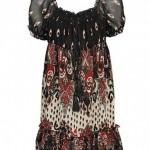 karpuz kollu etek ucu fırfırlı desenlişifon elbise 2012 modeli