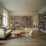 klasik beyaz modern kitaplık tasarımı